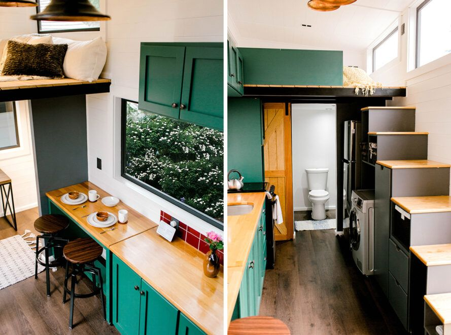 tiny home interior with green kitchen cabinets