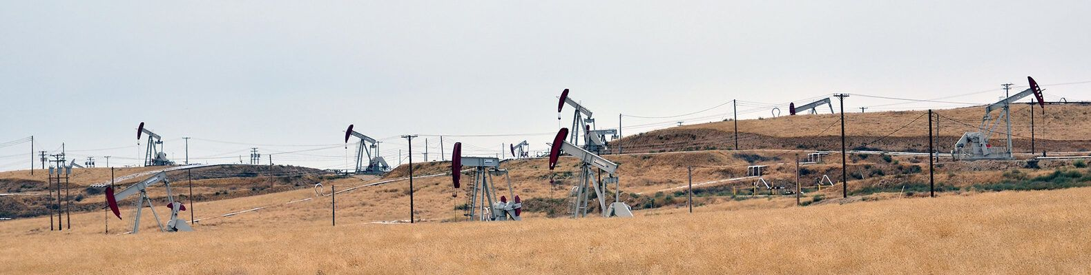 oil drilling machines on dry land in California