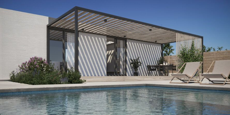 Swimming pool next to home with pergola