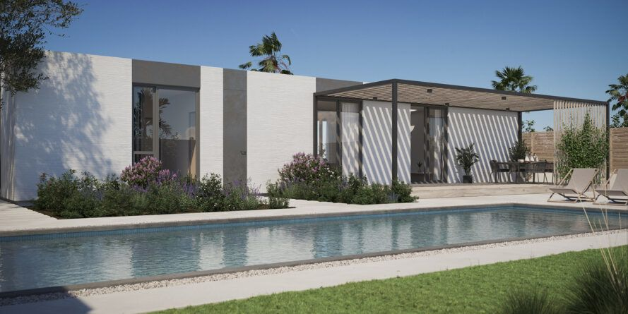 Gray house with pergola and large rectangular swimming pool