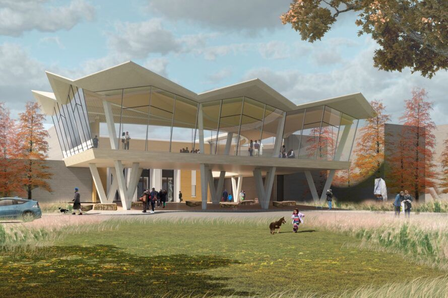 rendering of museum with folding roof and glass walls