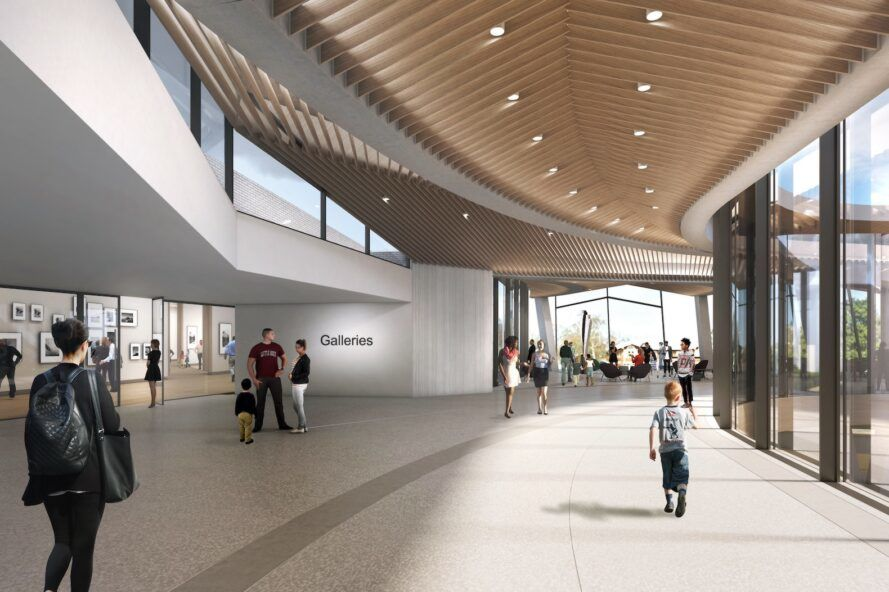 rendering of museum interior with white walls, glass walls and wood ceilings