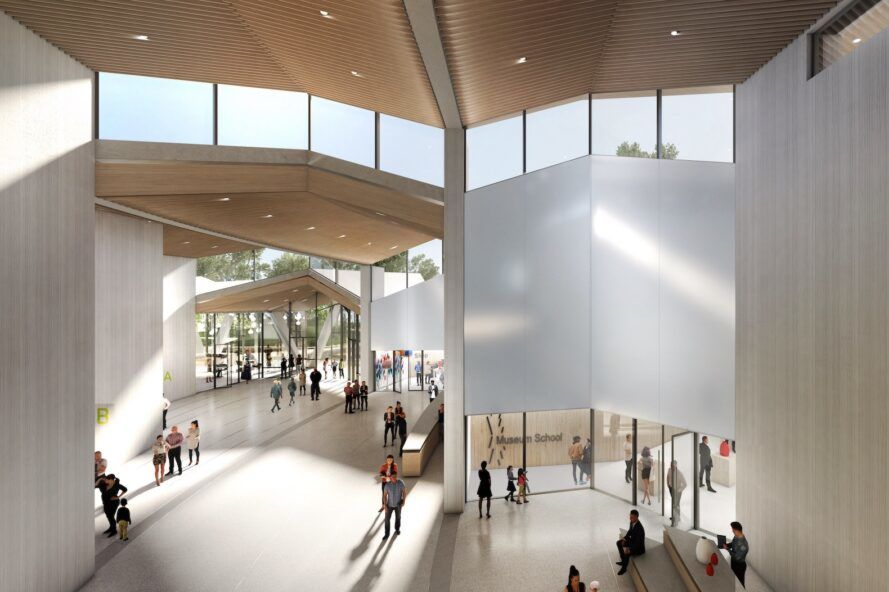 rendering of museum interior with pleated, double-height ceiling