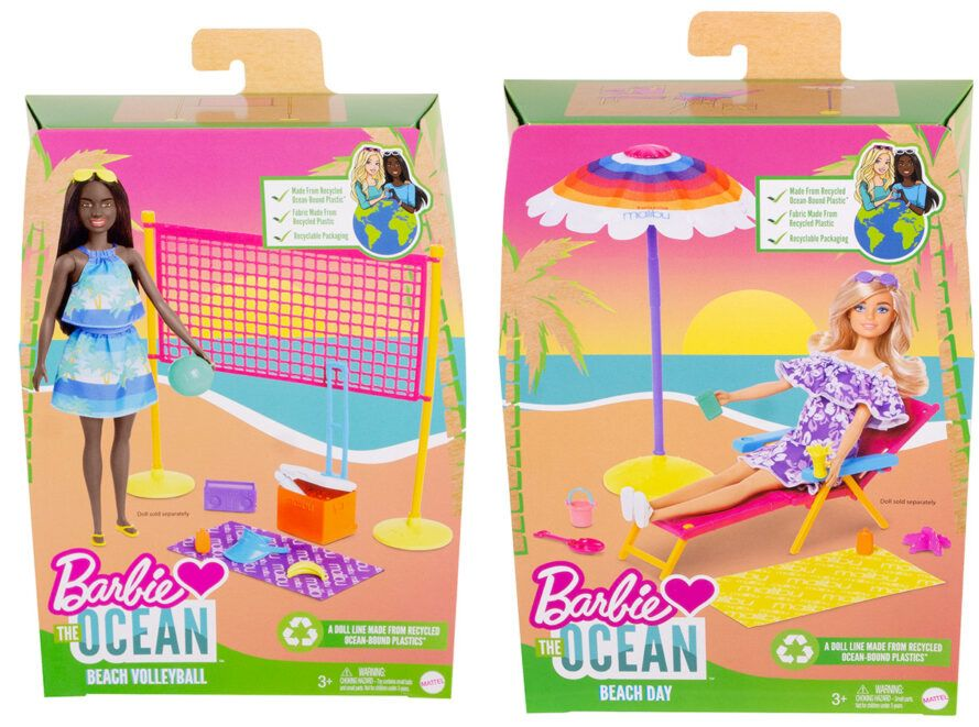 Two Barbie beach volleyball toys and a beach chair, all made of recycled plastic