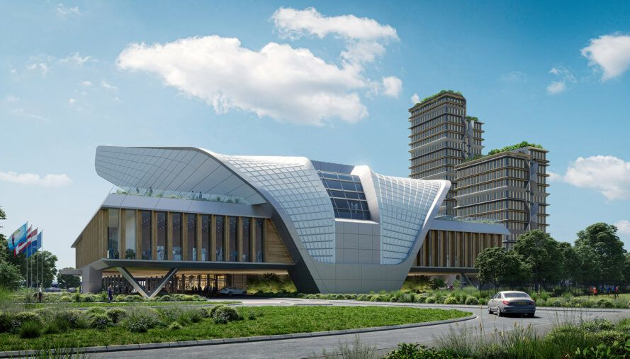 rendering of wood and metal building with curving roof