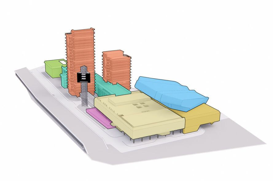 diagram of various buildings making up an old and new conference center