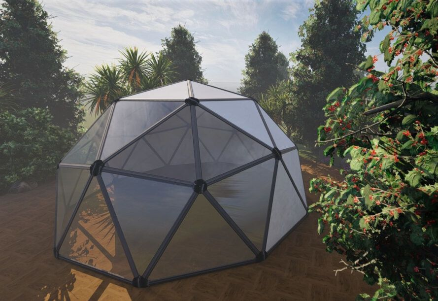 Rendering of an aluminum-framed glass geodesic dome in the forest