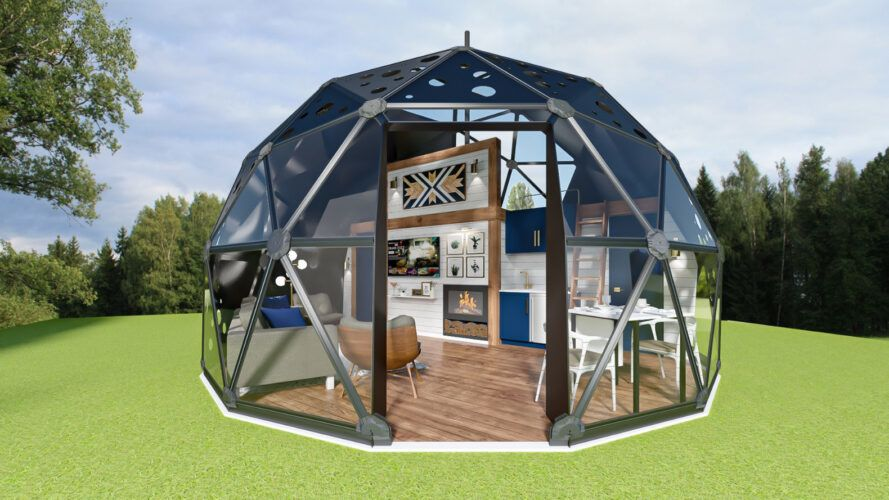 Clearly rendered geodesic dome with living area