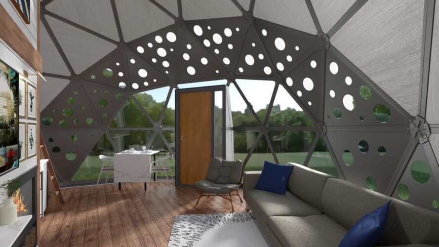 Rendering of the sofa in the geodome