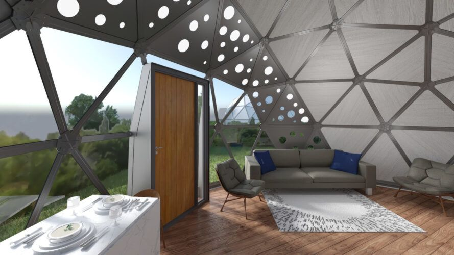 Rendering of the sofa near the wooden door in the geodesic dome