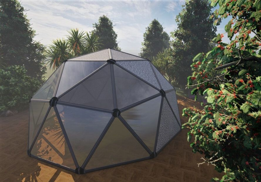 Aerial rendering of a geodesic dome covered with stone