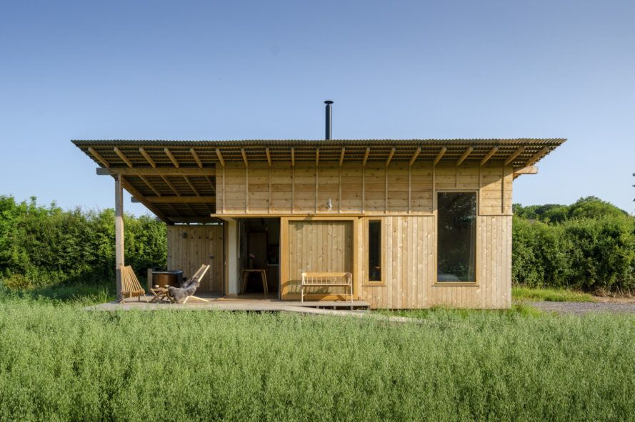 Wooden house with extended eaves