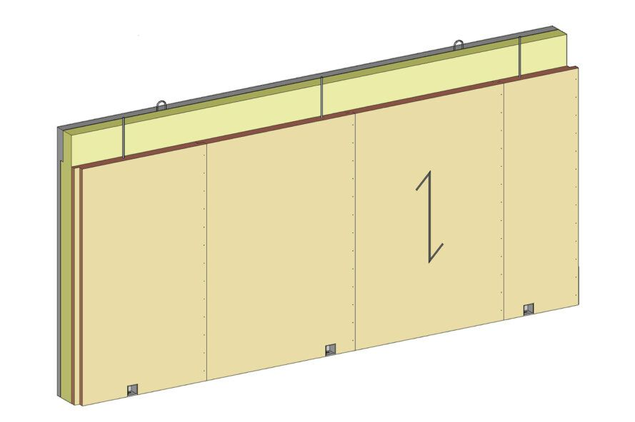 Rendering of the mixed sandwich wall.
