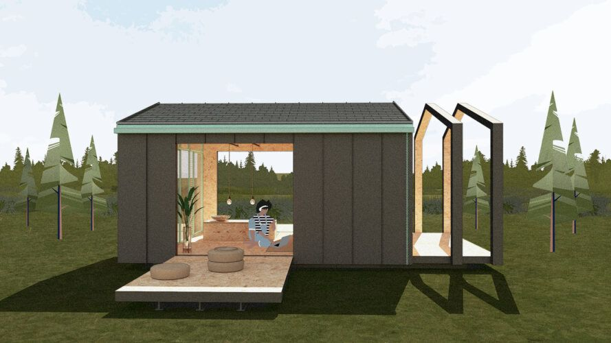 Rendering of a small house, the door opens to the small deck