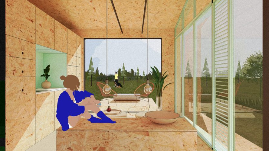 Render small home interiors with log walls, floors and ceilings