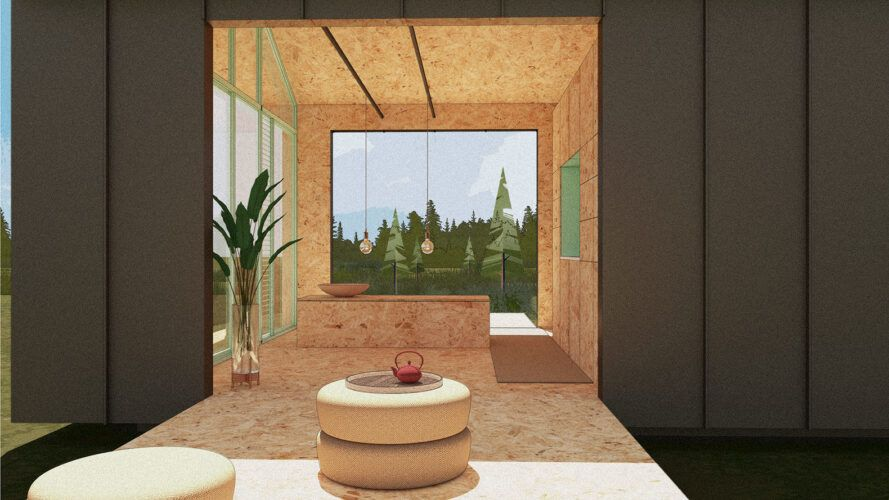 Rendering of a small house with a wall leading to the deck