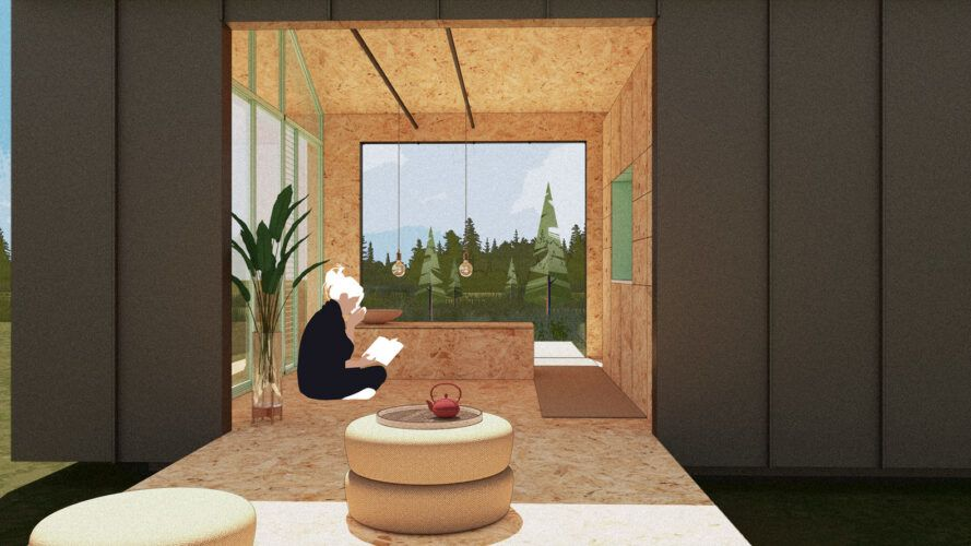 Render of a man reading on the deck of a small house