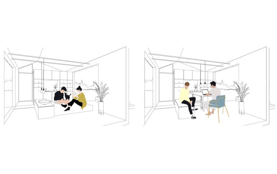 Draw a small house with flexible furniture interiors