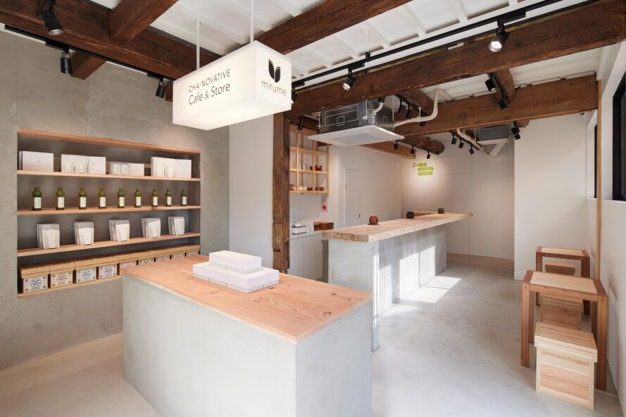teahouse interior with gray walls and wood accents