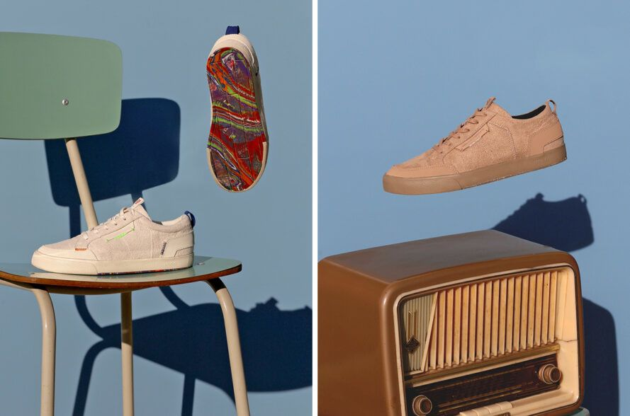 Vegan sneakers floating above the chair and old radio