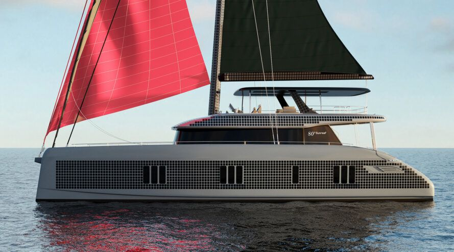 Side view rendering of a gray yacht with solar panels and red sails