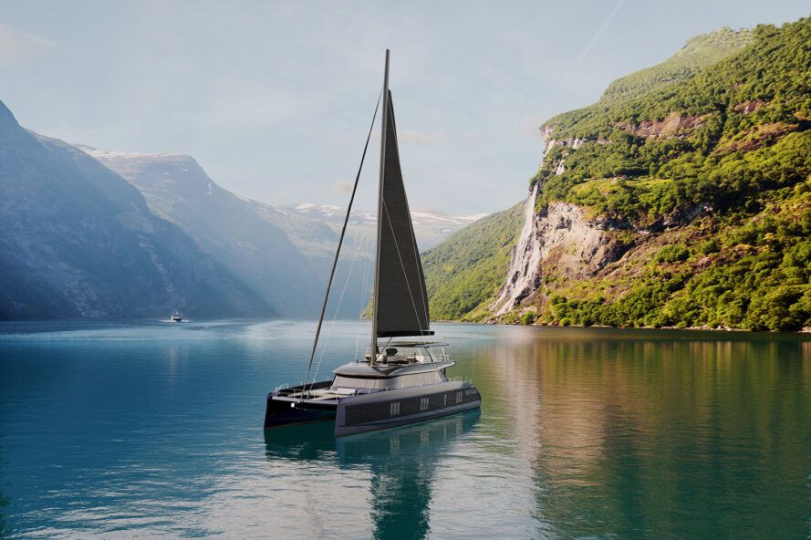 Rendering of a gray solar yacht sailing on mountain water