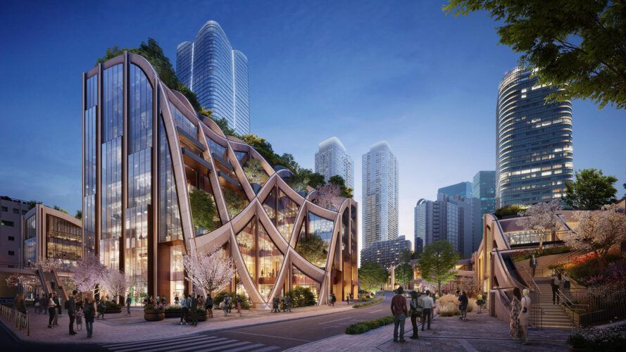 rendering of curved wood and glass building with green roof