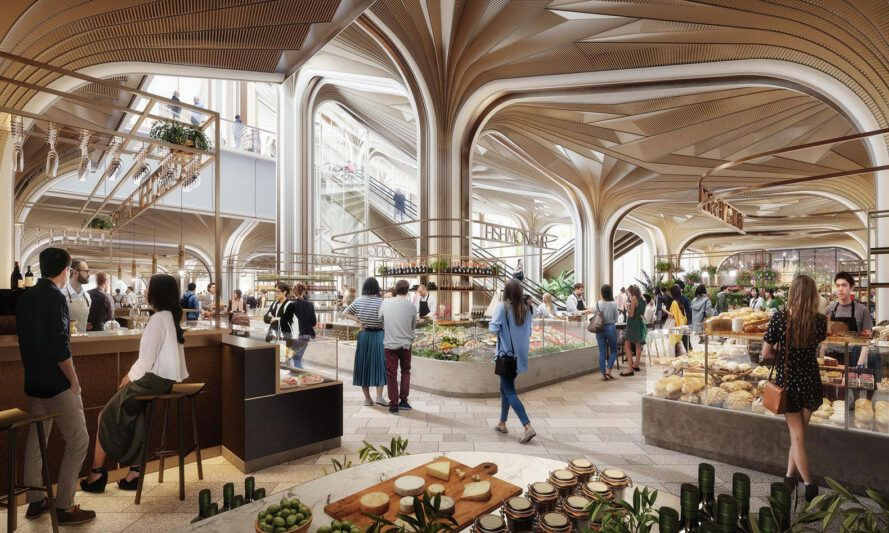 rendering of food market with several stalls selling fresh food