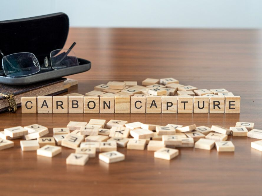 """block letters spelling out the words, """"Carbon Capture"""""""