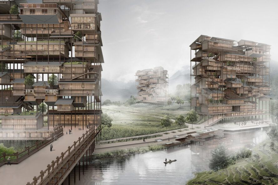 Rendering of a tall wooden building with farmland in the middle