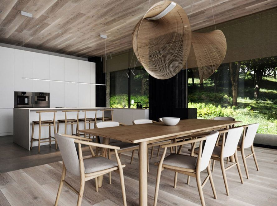 A neutral-toned dining room with lights made of woven wood strips hanging over a wood dining table and chairs.