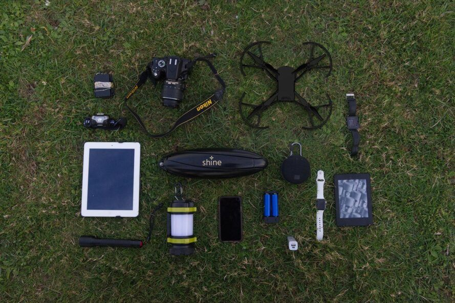 portable wind turbines near drones, digital tablets, cell phones and other small electronic devices
