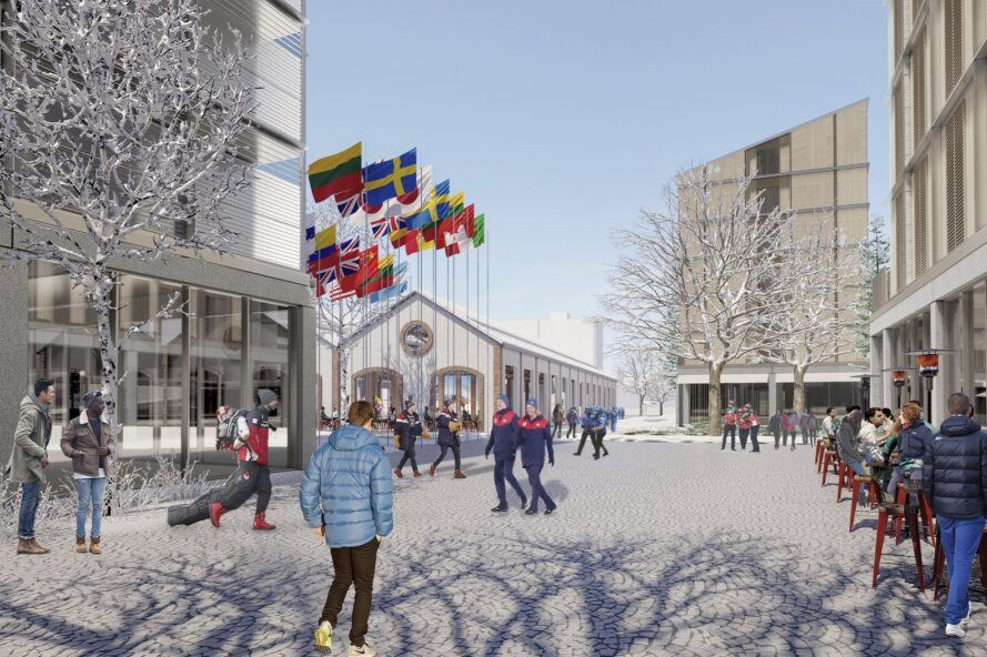A rendering of an icy courtyard in the Olympic village, with people walking by.