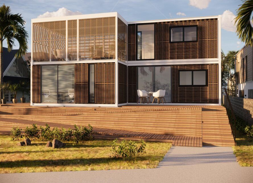 wooden two-story modular home