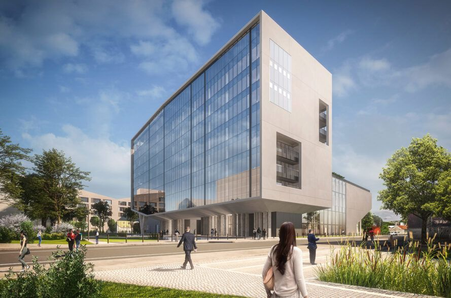 Rendering of a concrete and glass office building surrounded by courtyards