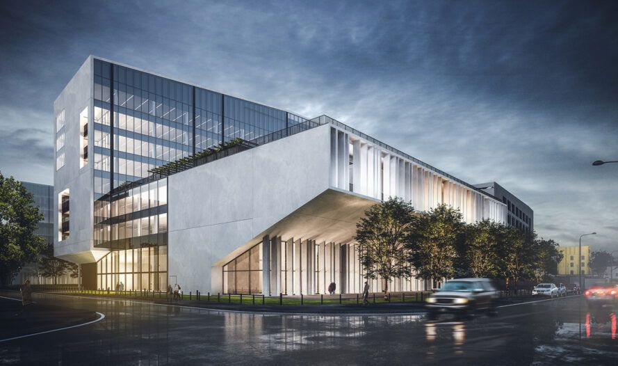 Rendering of concrete and glass office buildings lit up at night