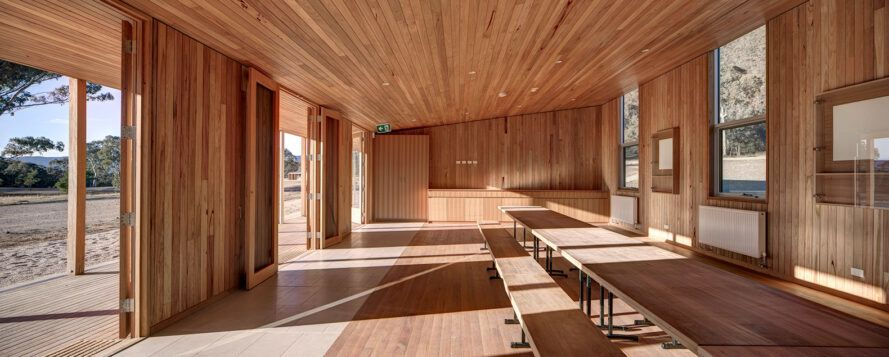Classroom with wooden floors, walls and ceilings