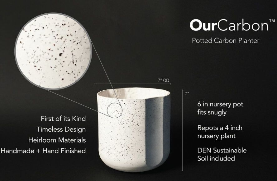 A diagram of the Potted Carbon Planter, showing the dimensions and detailing facts about the product.