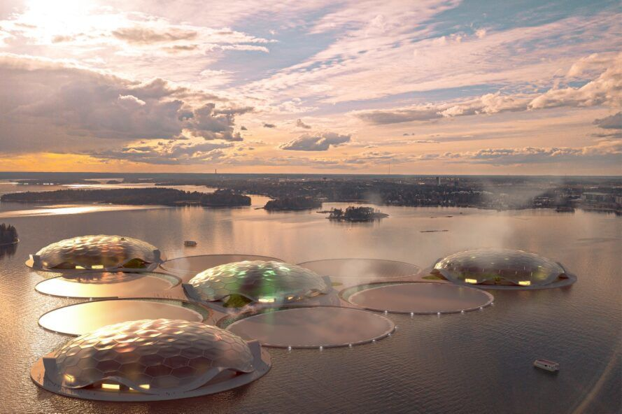 Rendering of a dome floating on the water at sunset