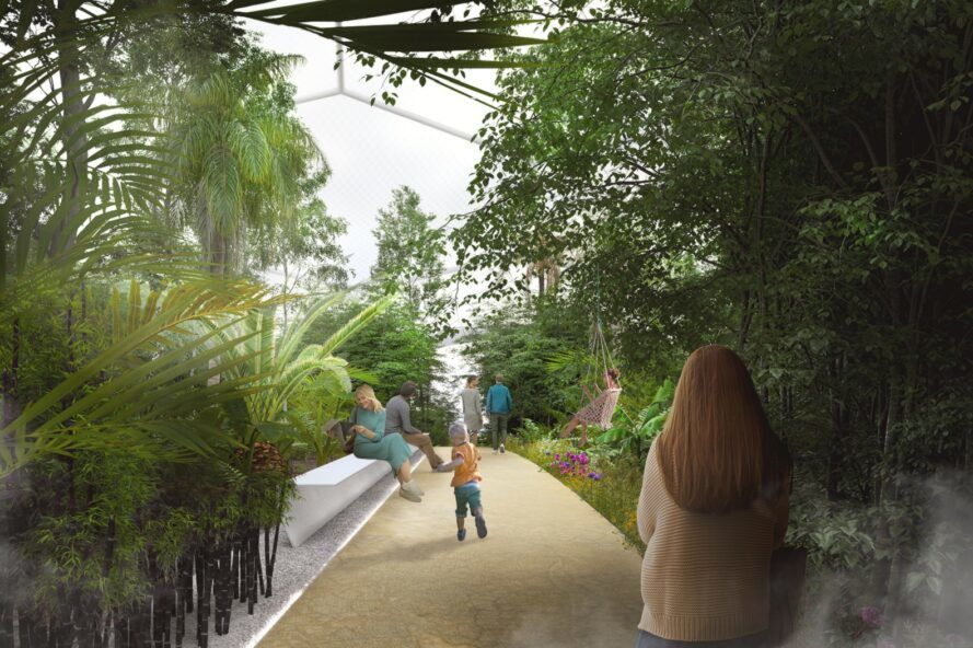 Rendering of a sidewalk with dense tropical trees on both sides