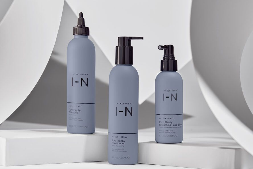 Blue shampoo and conditioner bottle