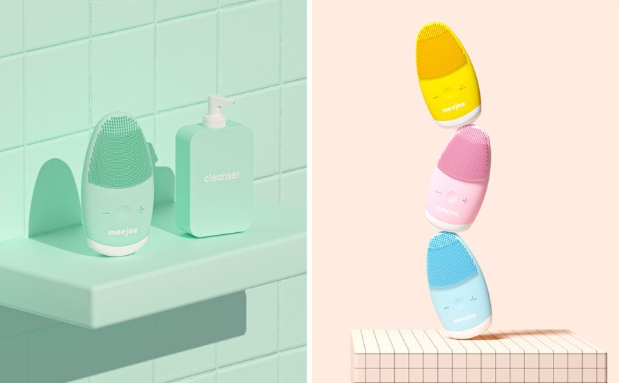 Light blue massagers on the bathroom shelf and blue, pink and orange facial massagers stacked on top of each other
