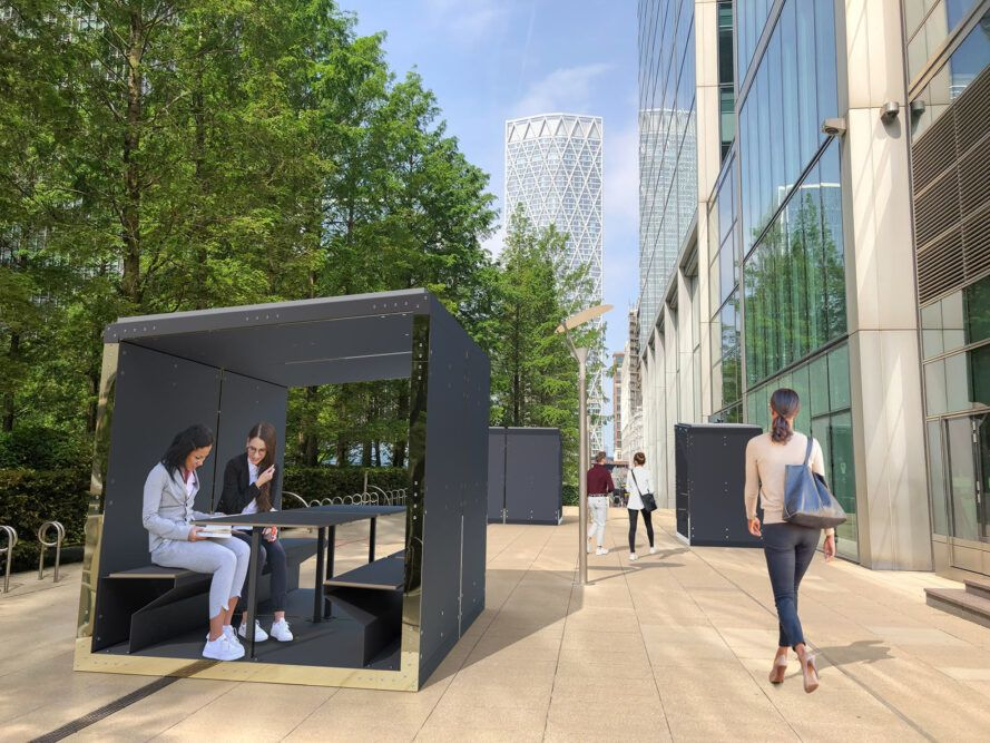 rendering of people working at covered tables in pods