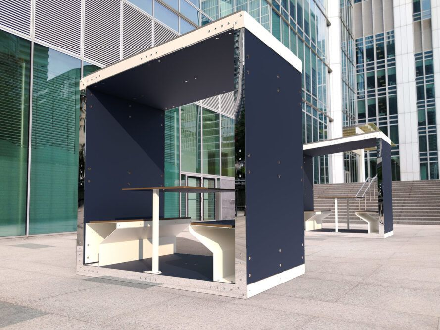 rendering of small office pods with open sides