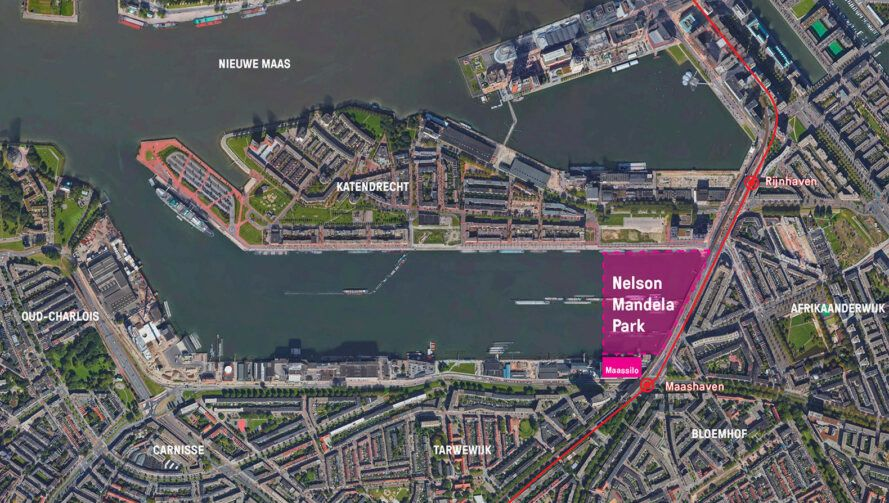 map with highlighted space to depict where new park will go near Rotterdam harbor