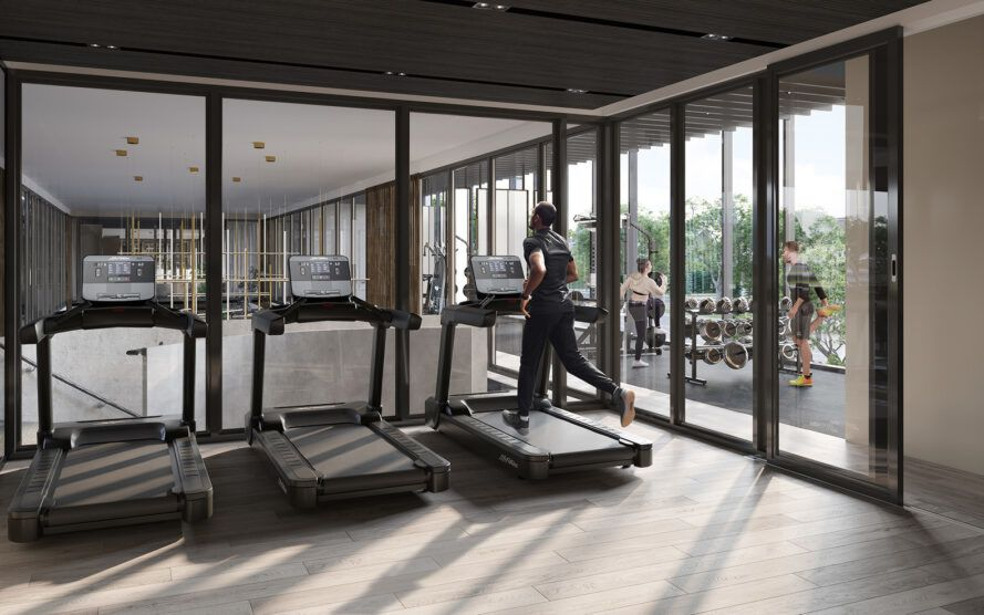 Rendering of a man running on a treadmill next to a glass wall, overlooking the garden