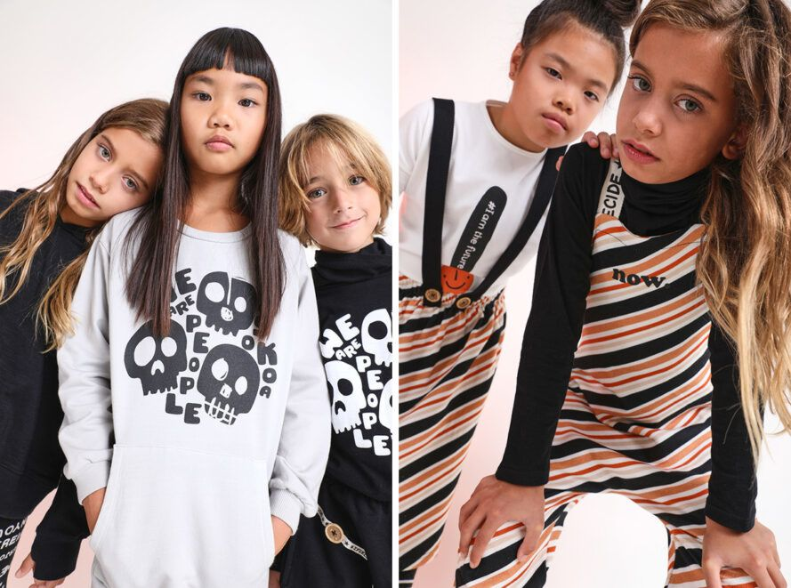 On the left, children are wearing patterned long-sleeved T-shirts. On the right, the children are wearing orange, black and white striped overalls.