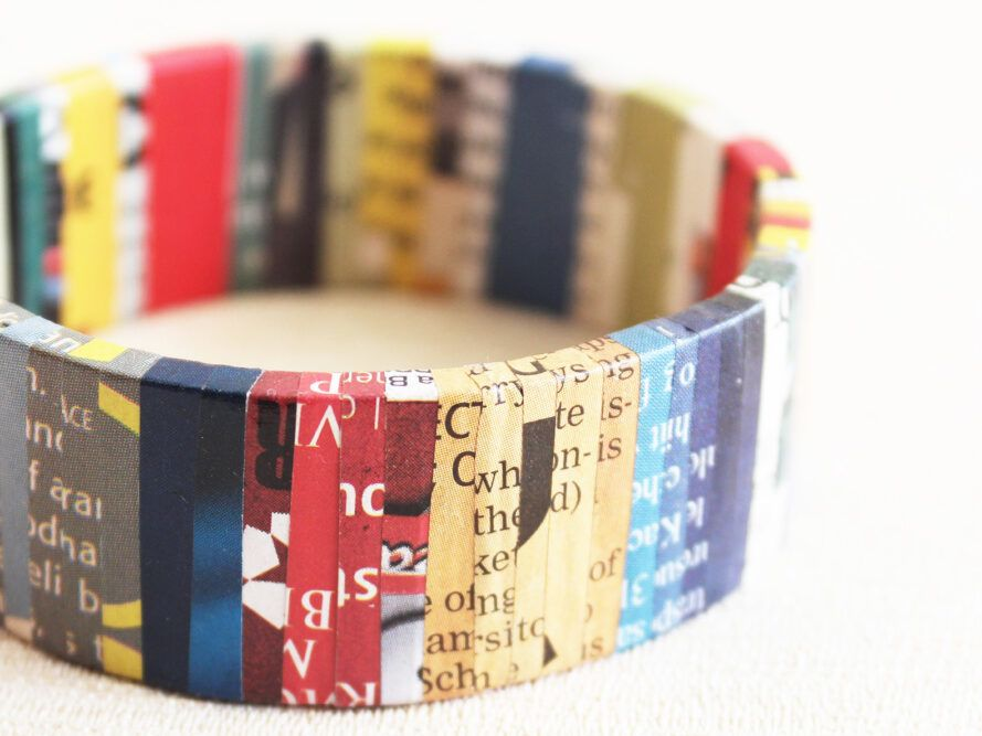 Bracelet made from old magazines