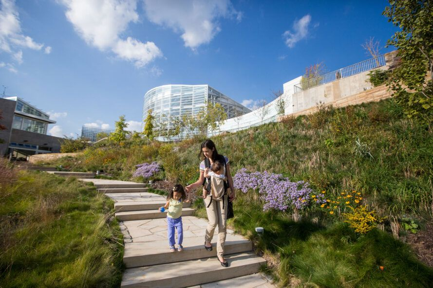 Mother and child walk down the steps surrounded by plants on both sides