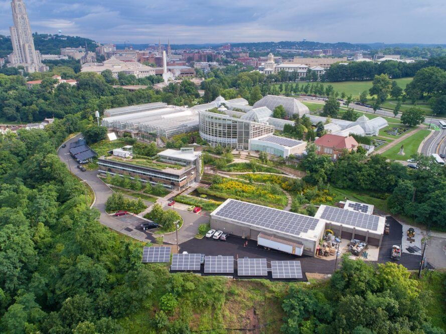 Aerial view of Phipps School of Music campus with botanical garden and solar building